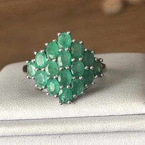 Natural Emerald Cluster Ring